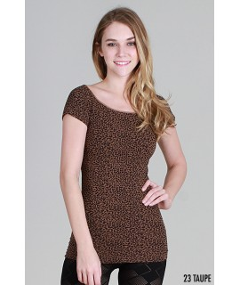 Nikibiki Cheetah Print Cap Sleeve Top
